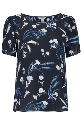 Joie Wira Floral Print Top in Midnight