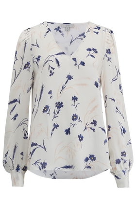 Joie Yadra Floral Print Blouse in Porcelain