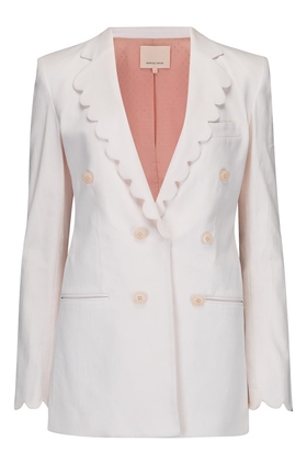 Scalloped Blazer in Vanilla
