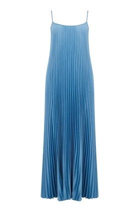 Pleated Cami Dress in Blue Pumice