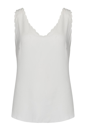 silk charmeuse scalloped tank top in snow