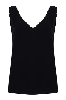 Tailored by Rebecca Taylor  Silk Charmeuse Scalloped Tank Top in Black