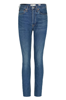 Re/Done High Rise Ankle Crop Jean in Dark