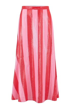 Olivia Rubin  Penelope Red and Pink Stripe Sequin Skirt