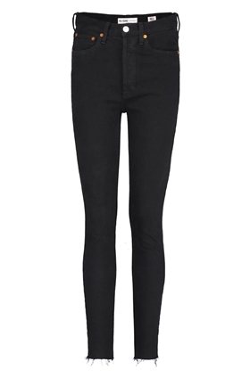 Re/Done High Rise Ankle Crop Jean in Black