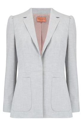 clean suit jacket in light heather grey