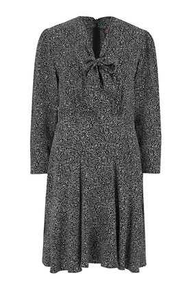Tailored by Rebecca Taylor  Long Sleeve Block Print Tie Dress