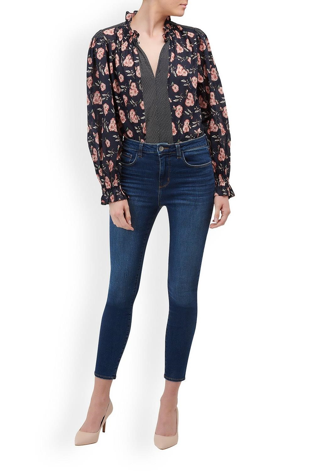 102e71d8f16926 Rebecca Taylor La Vie. Long Sleeve Adelle Scarf Print Top in Navy Combo.  £190.00. 1   4