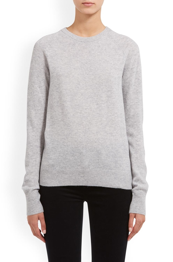 sloane crew neck sweater in light heather grey
