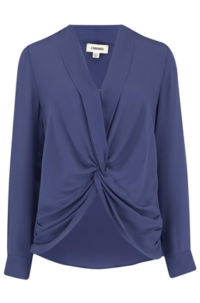L'AGENCE Mariposa Blouse in Sea Blue