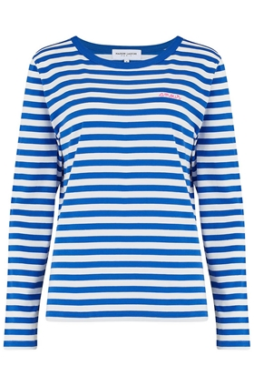 Amour Long Sleeve Sailor Stripe Tee in Blue and White