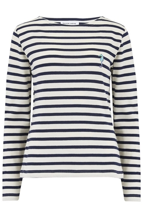 Seahorses Long Sleeve Sailor Stripe Tee in Navy and White