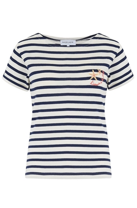 L'Amour A La Plage Sailor Stripe Tee in Navy and White