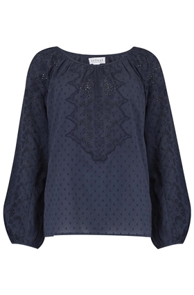 Victoria Cotton Eyelet Top in Navy