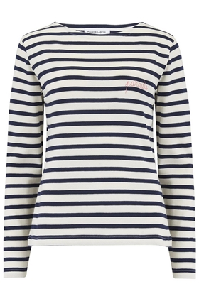 Paradis Long Sleeve Sailor Stripe Tee in Ivory and Navy