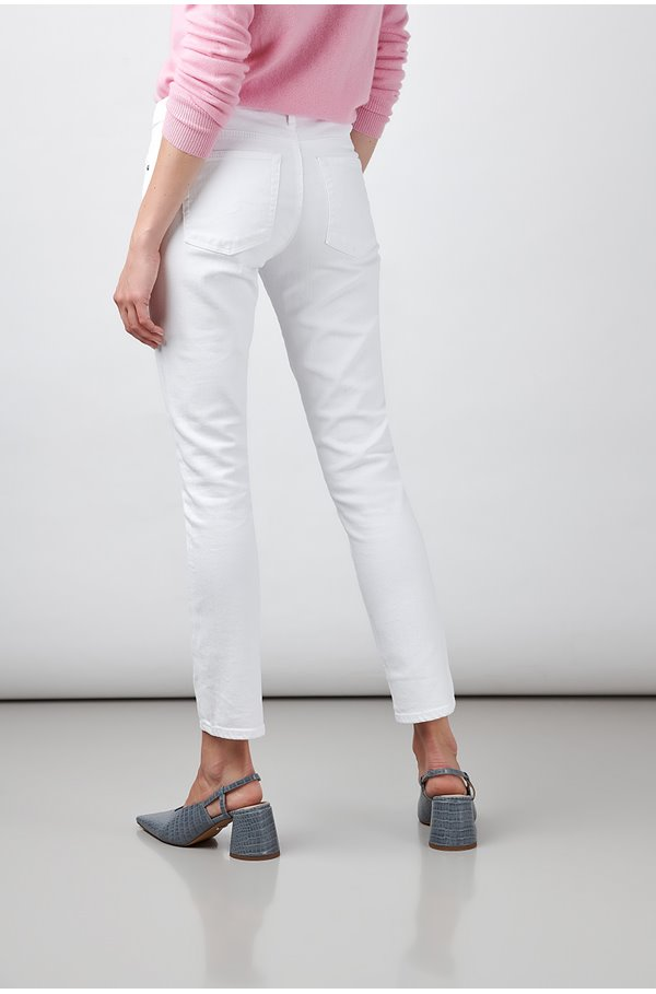prima ankle cigarette jean in white