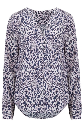 Trilogy Penelope Blouse in Navy and Pink Animal Print