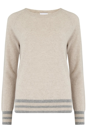 Madeleine Thompson Marina Stripe Hem Jumper in Wheat