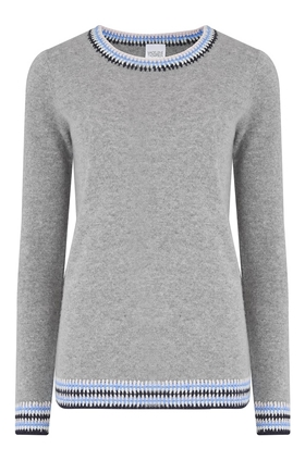 Ripon Blanket Stitch Jumper in Light Grey