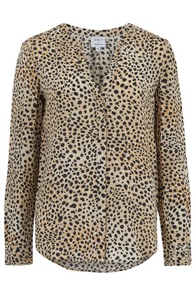 Trilogy Lilia Blouse in Natural Leopard Print