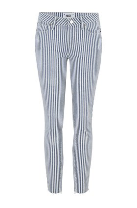 Verdugo Skinny Crop Jean in Sky Blue Stripe