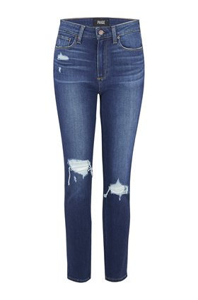 Paige Hampton Slim Straight Leg Jean in Hampton Destructed