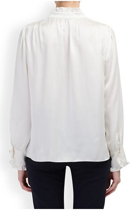 Tailored by Rebecca Taylor  Silk Charmeuse Ruffle Top in Snow