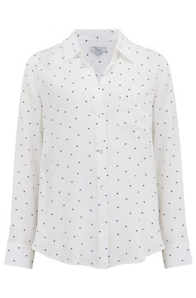 Kate Shirt in White and Navy Mini Hearts