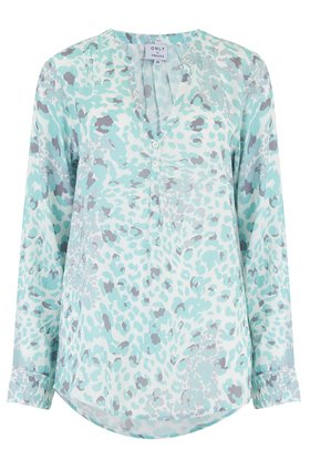 Trilogy Penelope Blouse in Mint Animal Print
