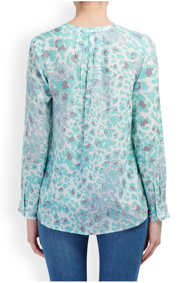 penelope blouse in mint animal print