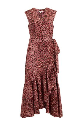 Leopard Wrap Dress in Henna