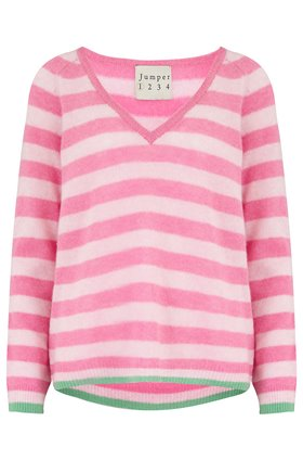 Stripe Loose V Jumper in Pink