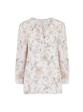 REBECCA TAYLOR - Long Sleeve Paisley Top in Vanilla Combo