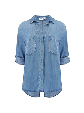 BELLA DAHL - Split Button Down Shirt in Medium Ombre