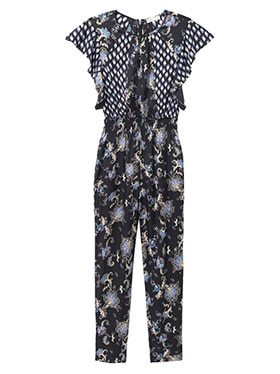 REBECCA TAYLOR - Sleeveless Paisley Jumpsuit in Black Combo