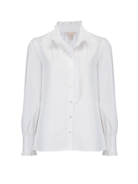 LA CHEMISE BY REBECCA TAYLOR - Long SLeeve Poplin Ruffle Top in Milk