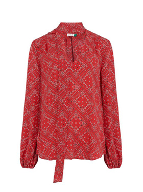 RIXO - Moss Printed Top in Scarf Floral Red