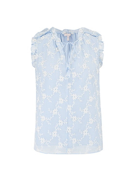 REBECCA TAYLOR - Sleeveless Vine Embroidery Top in Echo Blue Combo