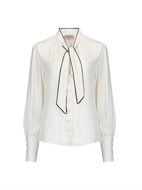 TAILORED BY REBECCA TAYLOR - Long Sleeve Silk Twill Top in Snow