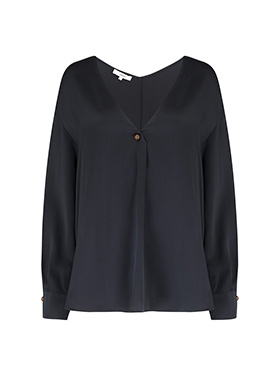 VINCE - Ball Button Blouse In Black