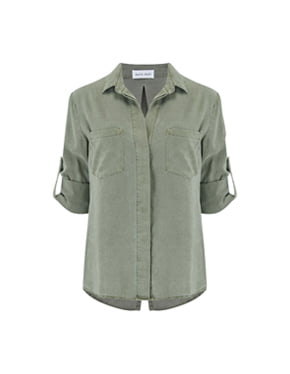 BELLA DAHL - Split Button Down Shirt In Soft Army