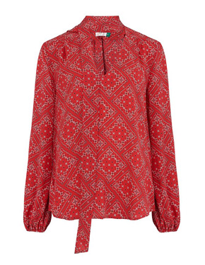 MERCY DELTA - Moss Printed Top in Scarf Floral Red