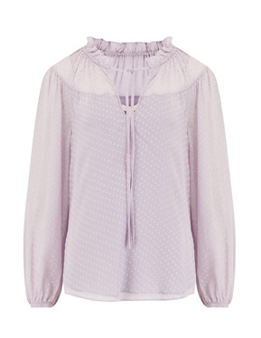 La Chemise by Rebecca Taylor - Long Sleeve Satin Dot Top in Lilac