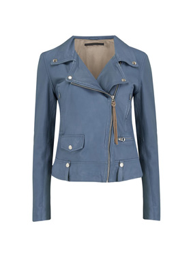 MDK - Exclusive Seattle Thin Leather Biker Jacket in Airforce Blue