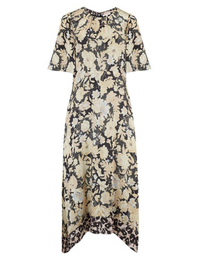 REBECCA TAYLOR - Short Sleeve Gold Leaf Dress in Black Combo
