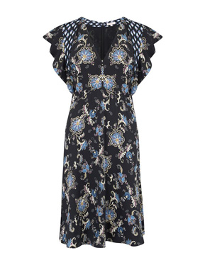 REBECCA TAYLOR - Sleeveless Paisley Dress in Black Combo