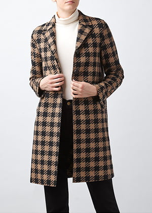 Harris Wharf London - Oversized Gingham Boxy Coat In Camel