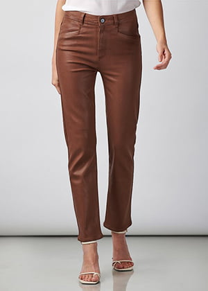 Paige - Hoxton Slim Ankle Jean In Cognac Coated
