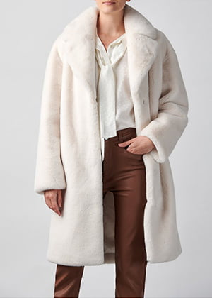 Stand - Camille Cocoon Coat In White