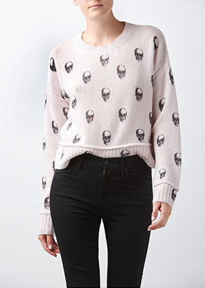 360 CASHMERE - Aiden Skull Jumper In Smoke Pink